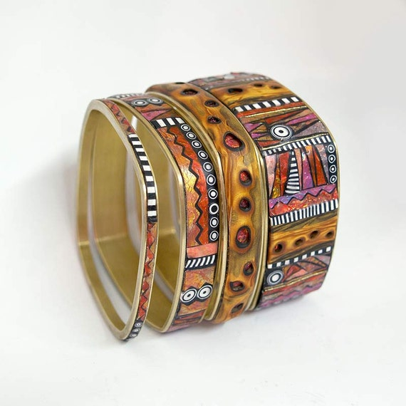 Set of 4 Iridescent Mosaic Inlay Faux Wood Square Brass Bangle Bracelets