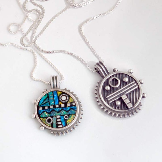 Reversible Silver Pendant with Green Blue Yellow Iridescent Inlay