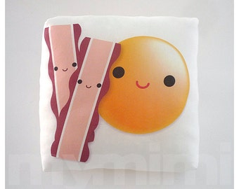 Food Pillow, Egg Pillow, Bacon Pillow, Breakfast Food, Throw Pillow, Cushion, Kawaii, Home Decor, Kids Room Decor, Playroom Decor, 7 x 7""