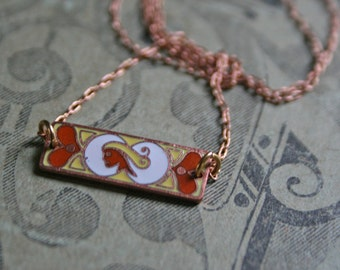 Virgo Zodiac Necklace / Art Nouveau / Gift