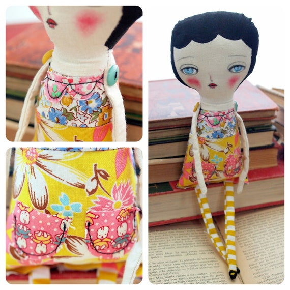 ISABELLA - Original Handmade Fabric Doll by Danita Art (Approx. 12 Inches Tall)