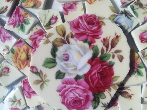 ShaBby ChiC RoSe Chintz Mosaic Tiles Broken China Tile with Focal