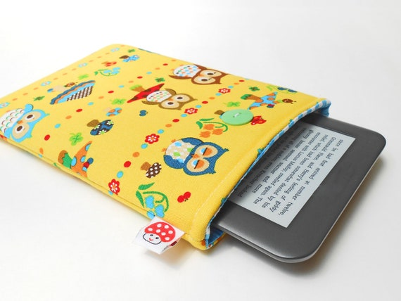 Kindle Fire Case / E-Reader Accessorie / Gadget Case / fits most Ereaders and Small Tablets -- Kawaii owls and mushrooms