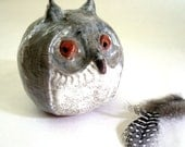 Great Grey Owl, Stoneware Sculpture