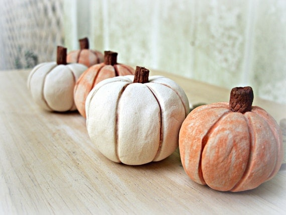 Five Little Stoneware Pumpkins Shelf Sitter Sculptures, Made to Order