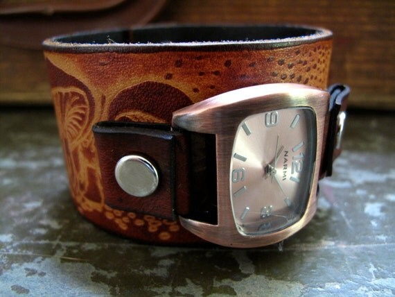 Mushrooms and Snails Leather Cuff Watch