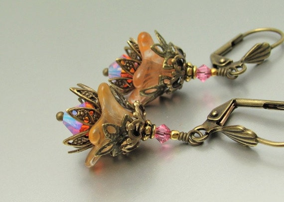 Orange Flower Earrings Vintage Tangerine and Padparadscha AB Swarovski Crystal