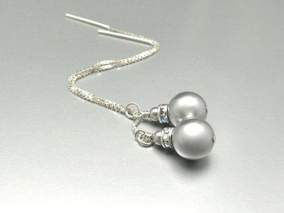 Threader Earrings, Pearl Earrings, Silver Threader, Pearl Threader Earrings, Silver Pearl Earrings, Bridal Jewelry, Swarovski Crystal Pearls
