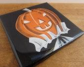 Pumpkin Head Halloween Tile Coaster
