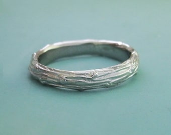14k Palladium White Gold Twig Wedding Band - Recycled Gold - Wide Pine Branch