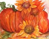 Sunflowers, Pear, Pumpkin watercolors paintings original, 7 x 10,  flowers painting, Thanksgiving decor, Fall decor, original painting