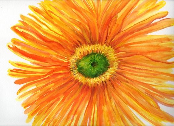 Original Orange and Yellow Gerbera Daisy Watercolor painting 11 x 14, gerber daisy art