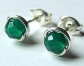 Green Onyx Studs Tiny Faceted Emerald Green Onyx Studs Post Earrings Wire Wrapped in Sterling Silver Stud Earrings Studs