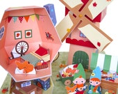 Fall Mushroom Dollhouse Playset Printable Paper Craft PDF
