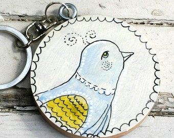 Hand painted wood KEYCHAIN with Bluebird 2 and custom monogram