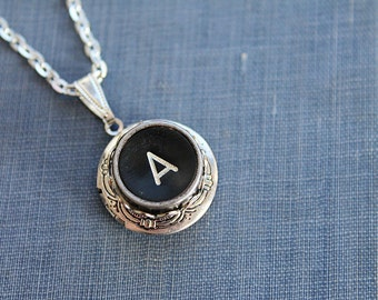 A INITIAL Vintage TYPEWRITER Key LOCKET Style Necklace Black Key Retro Fun