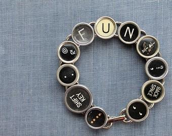 TYPEWRITER Key BRACELET Jewerly Made with Typewriter Keys FUN