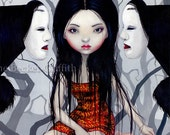 Faceless Ghosts japanese noh mask yokai fairy art print by Jasmine Becket-Griffith 8x10
