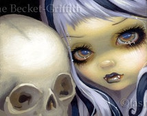 Faces of Faery 153 goth vampire skull big eye fairy face art print by Jasmine Becket-Griffith 6x6