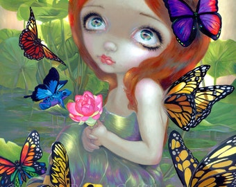 Daydreams and Frogs butterly flower fairy art print by Jasmine Becket-Griffith 8x10