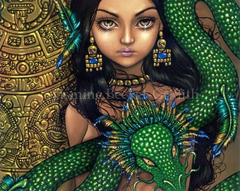 Priestess of Quetzalcoatl aztec princess fairy art print by Jasmine Becket-Griffith12x16 BIG