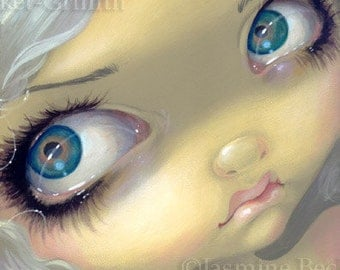 Faces of Faery 156 white blonde hair big eye fairy face art print by Jasmine Becket-Griffith 6x6