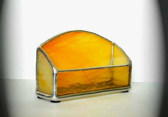 Stained Glass Business Card Holder - Yellow And Orange