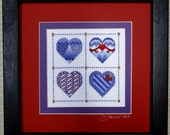 Purple and Red Beaded Four Heart Sampler