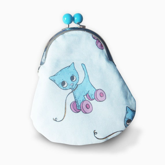Cat Purse - Blue Cat with pink wheels retro toy - metal frame purse - blue bobble clasp