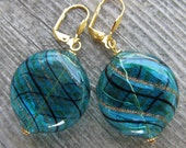 Holiday Sale Blue and Gold Blown Glass Earrings
