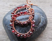 Deep Red Garnet and Copper Wire Wrapped Gemstone Earrings