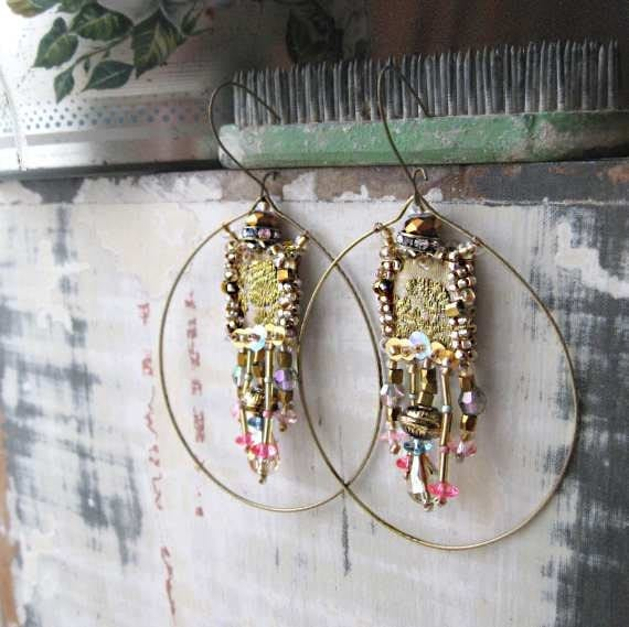 RESERVED for LG - Gold Rush earrings, Antique Brocade, Embroidery, Beaded, Soft Blue, Pink, Crystal, Hoops, Bohemian Gypsy