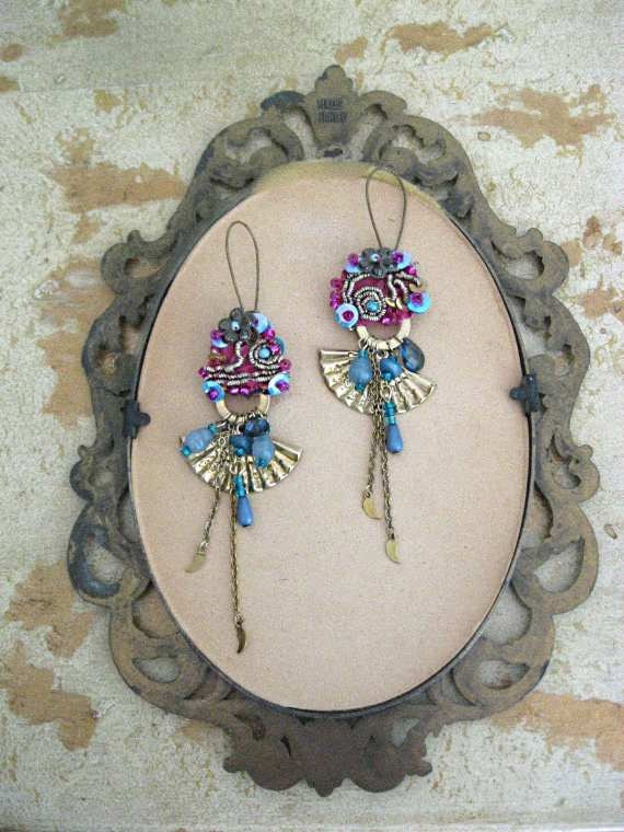 RESERVED for LG - Geisha Fan Earrings, Antique Embroidered Silk, Dark Pink, Blue, Gypsy Bohemian, Fiber, Dangle
