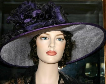 Ascot Hat Kentucky Derby Hat Wide Brim Tea Hat Titanic Hat Somewhere in Time Hat Downton Abbey Hat Edwardian Hat Purple - Kentucky Morning
