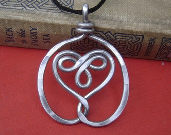 Big Celtic Embraced Heart Pendant,Statment Necklace Gift for Her Aluminum Celtic Jewelry, Celtic Heart Necklace, Women Celtic Knot