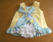 Baby Ruffle Dress and Diaper Cover Reversible Ruffled Sunsuit