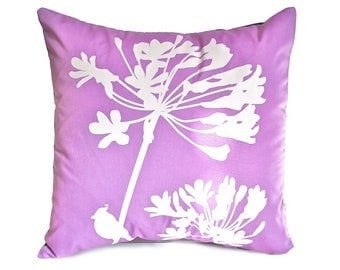 Lavender Cardinal on Agapanthus-Mini 10.5 Inches Square Pillow