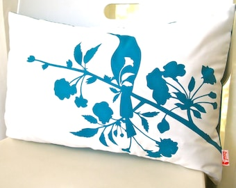 Teal Print on Off White Blooming Blossom Rectangle Pillow