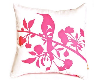 Hot Pink Print on Off white Blooming Blossom-Mini 10.5 Inches Square Pillow