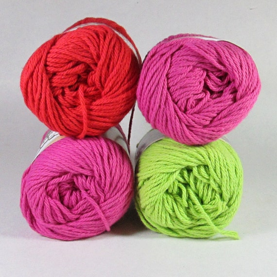 4 Lily Sugar 'N Cream Cotton Yarn - Hot Pink, Hot Green, Red