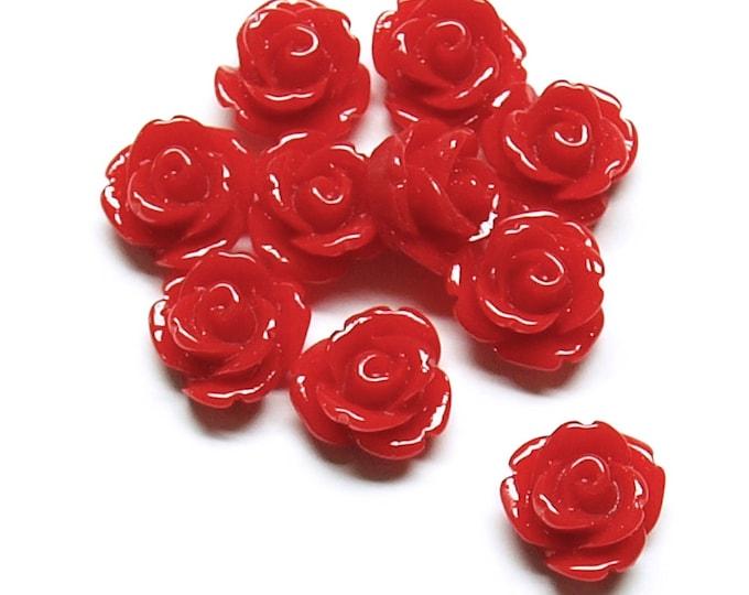 RSCRS-10CR - Resin Cabochon, Rose 10mm, Crimson - 10 Pieces (1pk)