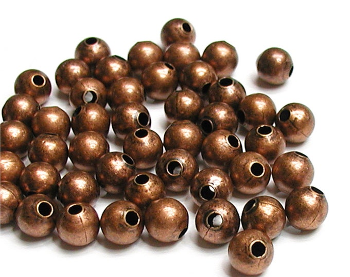 Bead, Round, 4mm, Antique Copper - 100 Pieces (BDBAC-RD40)
