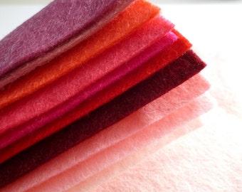 "PINKS Premium Wool Blend Felt Pack 10x 12"" squares"