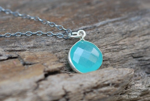 Aqua Blue Chalcedony Necklace . Sterling Silver Agate Bezel Sky Blue Faceted Gemstone Pendant Jewelry Gift