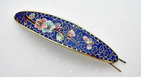 Vintage Cloisonne Barrette - Flowers on Cobalt Blue Enamel - Unused