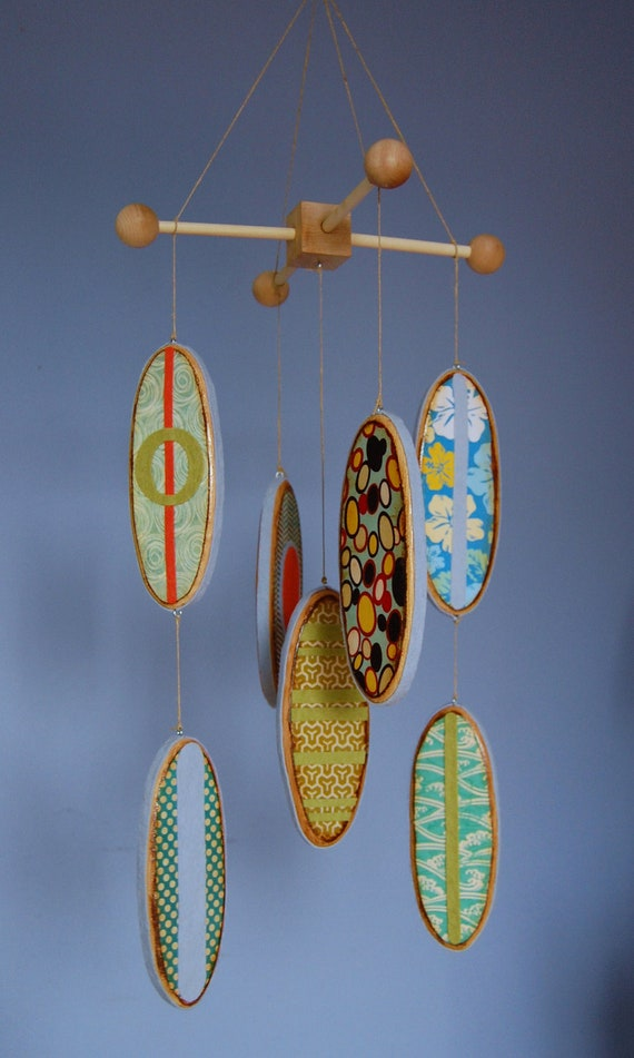 Baby mobile surfboards reclaimed wood and by flyingtreemobiles - Designer babymobel ...