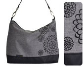 Day Tote - Charcoal Grey - Black Dahlia screenprint on Gray Floral Flowers