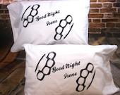 Brass Knuckle Pillowcase -2- Good Night Irene Screen Printed  Retro Housewares