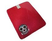 Vinyl Tablet Case Sleeve - Sugar Skull Pink Glitter Sparkle Ipad Mini Kindle Cover Rockabilly Girl