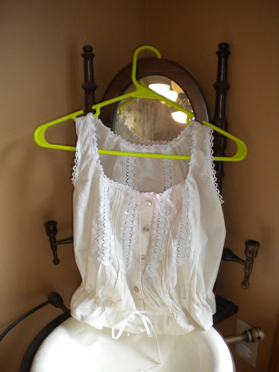 Size Medium Edwardian style camisole in white cotton with light pink ribbon